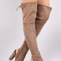 """Wild Diva Lounge Suede Drawstring-Tie Chunky Heeled Over-The-Knee Boots Knee High Boots Heel Height: 4.25"""" Shaft Length: 25.75"""" (including heel) Top Opening Circumference: 15.25"""" Black & Taupe & Grey"""