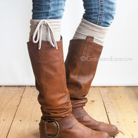 GRACE & LACE: Jersey Tie Boot Cuffs - Oatmeal