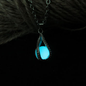Cyan Luminous ball, Dragon Claw, prom jewelry, party jewelry,Glow in the dark Cyan necklace,Glowing Pendant Necklace