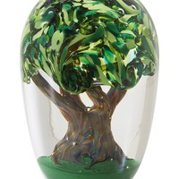 Tree of Life Full of Vibrant Green Leaves Hand Blown Glass Paperweight 4.25H