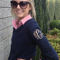 Monogrammed Ladies Long Sleeve V-Neck Sweater | Ladies Clothing | Marley Lilly