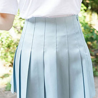 Sky Blue Pleated Mini Skirt
