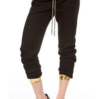 MapleClan Punk Style Plaid Cropped Pants with Gold PU Trim for Women