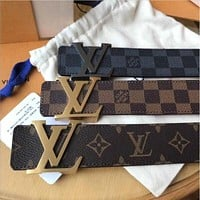 LV Louis Vuitton Classic Popular Woman Men Fashion Smooth Buckle Leather Belt
