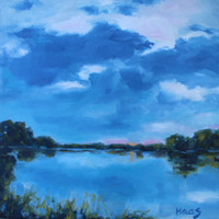 DELTA SUNSET - 12 x 12 - Oil Painting - Original - Sacramento, California - Landscape - Beach Home Decor - Waterway - Blue