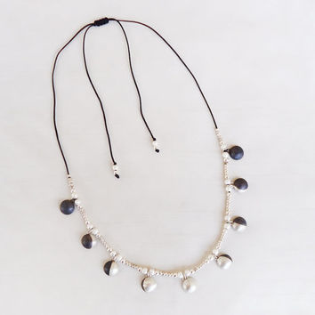 Phases of the moon Necklace - Sterling Silver Moon Charms, silver plated beads, and silky cotton black cord - Original Moon Necklace