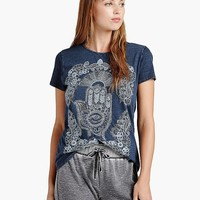 Lucky Brand Embroidered Hand Tee Womens - Indigo