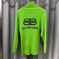 Balenciaga Popular Women Print Long Sleeve High Collar Sweater Top Green