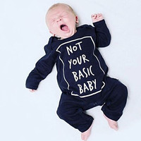 """"""" Not Your Basic Baby """" Long Sleeve Onesuit"""
