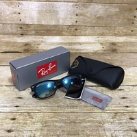 Genuine Ray Ban New Wayfarer RB2132 Black Velvet Finish Blue Lenses NEW IN BOX