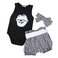 3PCS born Baby Girl Clothes Summer Sleeveless Slip Romper +Striped Bloomers Bottom Outfit Toddler Kids Clothing Set