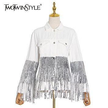 White Sequin Patchwork Tassel Jacket For Women Lapel Long Sleeve Casual  Jackets Female  Fall Fashion New Tide