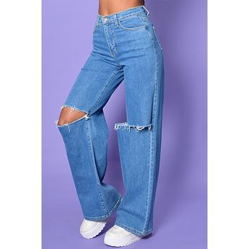 All That She Wants Rip Knee Wide Leg Denim
