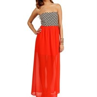 Tomato Chevron Maxi Dress