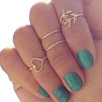 NEROY Fashion Gold Plated Leaf Heart Joint Knuckle Nail Ring Set of Four Rings