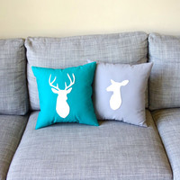 Deer Pillows Wedding Decor - Stag and Doe Decorative Pillow Set in Light Gray and Teal