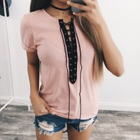 Sarahi Lace Basic Top (Pink)