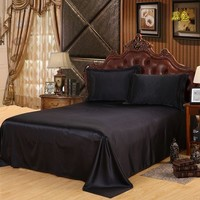 New High Quality Black Sheets Luxury Satin Silk Bed Seet King Queen Twin Size Solid Black Flat Bedsheet Bedspread No Pillowcase