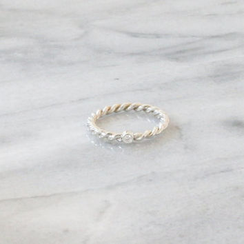 Diamond Twisted Sterling Silver Ring/ Rope Ring/ Braided Twist Band / Stacking Ring/ Simple Silver Ring/ Wedding Ring/ Twist Rope Ring