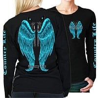 Country Life Outfitters Wings Guns Vintage Black & Blue Long Sleeve Bright T Shirt
