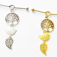 Industrial barbell 14 gauge stainless steel bird, tree and leaf earring