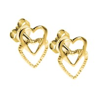 Solid 14kt Gold Dual HOLLOW HEART Earrings
