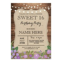 Sweet 16 Any Age Birthday Party Wood Floral Invite