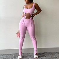 New women's sexy lace-up hollow  high  waist sports fitness suit crop top pink