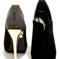 C Label Laila 4 Black and Gold Pointed Ankle Booties