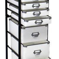 "Storage Cart 12 Drawers Rolling Organizer Acerly Lightweight Steel-Frame: 10.2""""x11.4""""x43.1"""" White Patented Reusable Rivets"