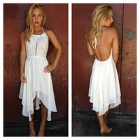 White Embroidered Halter Asymmetrical Hem Dress