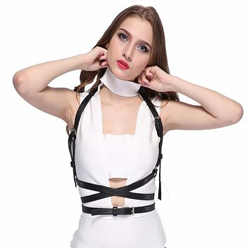 Gothic Suspender Women Leather Harness Sexy Punk Cross Sculpting Body Waist Belt 100% handmade female belts harajuku harness