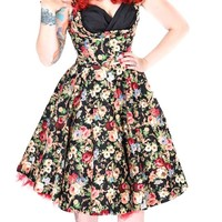 Ophelia Black Floral Swing Dress in Petite Sizes | Blame Betty