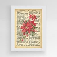 Christmas Poinsetitia Vintage Dictionary, Red Flower Decorations, Christmas Poinsettia, Christmas Flower Ornament, Red Poinsettia Decoration