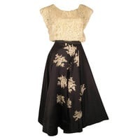 1950s Yma Sumac Estate Couture Lace Blouse and Satin Skirt with Floral Applique