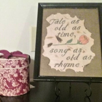 """Great gift for any Disney fan. Beauty and the Beast framed print. """"Tale as old as Time Song as old as Rhyme"""". Ready to Ship"""