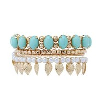 Leaf & Pearl Stackable Bracelets - 4 Pack by Charlotte Russe - Mint