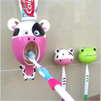 Interesting Bathroom Accessories sucker Cartoon Automatic Toothpaste dispenser Toothbrush holder suits Bathroom Products