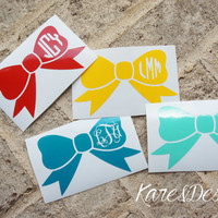 Bow Vinyl Personalized Monogram Decal Sticker - Circle Monogram - Vine Monogram - DIY - Great for car Window, laptop, cell phone, notebook