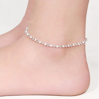925 Sterling Silver Anklet Korean Frosted Beads for Women