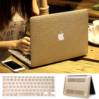 CHEAP PRICE LOW PRICE Luxury Gold Silk Leather Hard Case Cover + Keyboard Cover For Macbook Air Pro 11 13 / Retina Pro 13 Free Shipping Lapop Bag