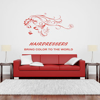 Beauty Salon Decal, Inspirational Wall Decal Quote, Hairdresser Quote, Salon Advertisement Decal, Make Appointment Decal, Floral Hair nm009