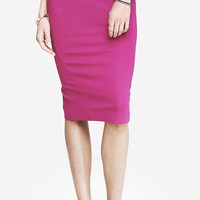 HIGH WAIST PONTE KNIT BANDAGE MIDI SKIRT - ROSE from EXPRESS