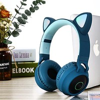 Glowing cartoon   wireless bluetooth headset for girls and boys with cat ears