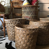 Large Braided Woven Planter Basket, Jungalow Wicker Planter, Boho Rattan Plant Basket for Tree or Large Plant