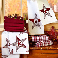 Country Barn Star Kitchen Dish Towel Set Red & White 10 Pce Cotton Waffle Weave
