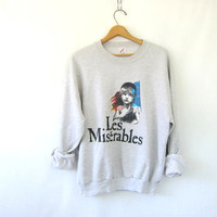 Vinage Les Miserables sweatshirt gray pullover80s sweater Hipster Punk womens M L