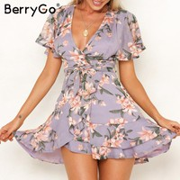 BerryGo Boho dresses Elegant Wrap dress women Floral print short sleeve chiffon mini summer dresses beach female vestidos dress