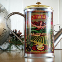 Italia Olio di Oliva Tin Can with lid, Vintage Tin Décor Oil Can