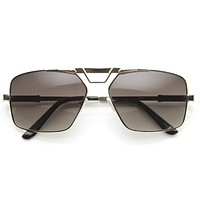 Modern Mens GQ Fashion Large Square Metal Frame Aviator Sunglasses 8988